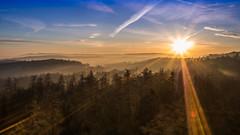 good morning (DaveGassmann) Tags: ng sun sunrise blue sonne sonnenaufgang sonnenstrahlen wald horizont wonderful nebel switzerland schweiz aargau lenzburg esterliturm olympus penf