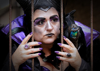 Street portrait of Denise as Maleficent at the Whitby Gothic Weekend, April 2018