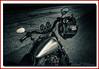Man in the Mirror (Deek Wilson) Tags: fxdxidynasuperglidesport fueltank harleydavidson harleyd crashhelmet selectivecolour mono black white belfast mirror motorcycle