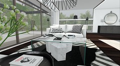 Client Work - Cabria (brinks_lemmon) Tags: sofa couch chesterfield pillow throw table glass book books coffeetable rug carpet lamp light pendant flower flowers plant plants console mirror hide cow hiderug
