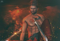 Skip~Samurai at heart... (Skip Staheli *FULLY BOOKED*) Tags: skipstaheli nomatch samurai japanese sword tattoo fire fight warrior fantasy action virtualworld avatar digitalpainting