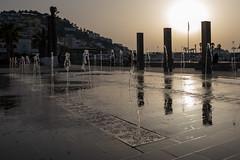Fountains in Bronze (mfatic) Tags: fountains sun pillars silhouette sunset street environment asiaminor pavement kuşadası aydın turkey tr syncerror