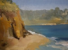 Looking East, Monterey Bay, Capitola Beach, Northern California (MargauxB) Tags: elizabethingebretsenfineartist oilpainting oilonlinenpanel capitola northerncalifornia