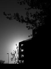 sun blink (Darek Drapala) Tags: sun sky silhouette sunset skyskape street architecture bw blackwhite blackandwhite buildings building black dark evening panasonic poland polska panasonicg5 warsaw warszawa lumix light city