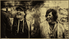 Humour at the Headstock. (Neil. Moralee) Tags: neilmoralee man men boy laughing fun humour face faces roaring sepia old ancient steam train minehead west somersert railway toned overalls work working aprentice volunteers westsomersetrailway steaming funny nikon d7200 neil moralee black white enjoy bw bandw blackandwhite valuable life skills smile