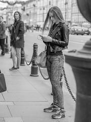 Waiting (pilot3ddd) Tags: stpetersburg nevskyprospect streetphoto portrait girl blackwhite monochrome olympusomdem5markii olympusmzuiko45mmf18