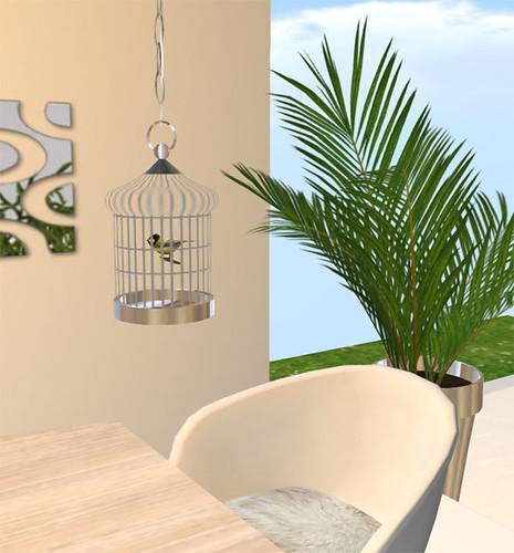 Beautiful Silver Bird Cage with Tweeting Bird - Fantastic Furniture