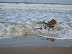 Pot Wash (Glass Horse 2017) Tags: redcar cleveland beach seaside coast potwash lobsterpots crabpots abandoned sea veryhightide reflection seaspray spume foam waves