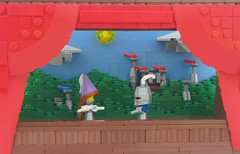 A Tale of Four Houses (Robert4168/Garmadon) Tags: lego puppet stage curtains red kingdom castle princess knight sun micro clouds absseason2finale medieval