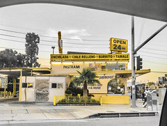 """planes, trains & automobiles"" ―John Hughes, 1987 🚗 (anokarina) Tags: 🚖 🚕 🚙 🚗 🚘 psmobile adobephotoshopexpress colorsplash appleiphone7 🍱 california ca picodelmar losangeles kalifornia la cityofangels yellow mellow gold city urban street window restaurant sign"
