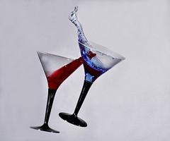 Cocktail Glasses falling (GeorgeN66) Tags: clash splash glasses highspeedflash sb200 colouredwater cocktailglass liquid splashart miops sound trigger miopssoundmode soundtriger