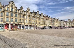 Arras (Jan Kranendonk) Tags: arras french france architecture medieval gothic hdr facade front sky clouds cloudy building landmark town city people restaurants market townsquare square gables houses cobblestones ngc