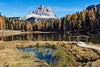 Lago Antorno in Dolomiti (Silva Predalič) Tags: mountain sky tree forest dolomiti lago antorno italy lake water autumn wood colours grass