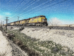 Heading For The Loop (p) (davidseibold) Tags: america benaroad california jfflickr kerncounty painting photosbydavid postedonflickr train traintrack unitedstates usa arvin