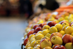Apple of my eye (flaminia cuffari) Tags: bokeh riga latvia market centraltirgus apples produce stalls yellow red