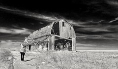 rural exploration.... (BillsExplorations) Tags: barn old farm abandoned decay forgotten ruraldecay rural country blackandwhite monochrome sky lonefigure monochromemonday