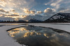 Mount Rundle @ Sunrise (deirdre.lyttle) Tags: alberta banff banffnationalpark canada clouds reflections rockies rockymountains snow sunrise vermillionlakes water rundle mountain