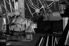 Rostige Riesen IV (Kai-Uwe Klauss) Tags: hafenmuseum hamburg nacht krane kampnagel krupp nachts industrie industriemuseum details blackwhite schwarzweis sw portalkrane hh