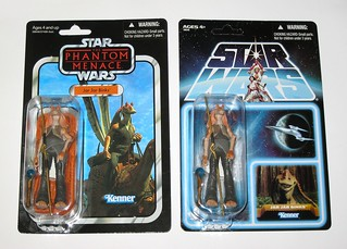 VC108 and VC108 lost line jar jar binks star wars the vintage collection the phantom menace basic action figures 2012 hasbro mosc