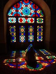 PA035831 (bartlebooth) Tags: shiraz farsprovince iran persia middleeast unesco iranian architecture olympus e510 evolt silkroad persian nasiralmulkmosque pinkmosque nasirolmolkmosque masjedinasiralmulk masjed masjid stainedglass colouredglass colouredlight
