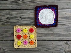 Two crochet squares for the World's Biggest Crochet Blanket (crochetbug13) Tags: crochet crocheted crocheting crochetbug crochetsquares grannysquares crochetblanket crochetafghan crochetthrow