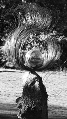 Palantir 01 (byronv2) Tags: palantir seeingstones lordoftherings sculpture globe ball shiny metal silver wire georgesquare gardens park spring sunny sunshine sunlight shadows blackandwhite blackwhite bw monochrome edinburgh edimbourg scotland art