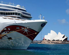 Big Cruise Ship and Little Opera House (Mondmann) Tags: ship cruiseship sydneyoperahouse operahouse building architecture landmark sydney newsouthwales nsw australia harbor harbour sydneyharbour travelphotography mondmann fujifilmxt10