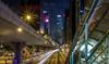 Hong Kong street view (fredrik.gattan) Tags: street view road city trafik light trails lines cars bus walkway bridge skyscrapers highrise metropol hong kong china hongkong hk long exposure night
