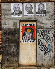 Hammer & Pickle (ep_jhu) Tags: wood hat iphone6s apple trump decay mlk blagdenalley poster dalailama rust graffiti streetart soviet ghandi metal washington districtofcolumbia unitedstates us