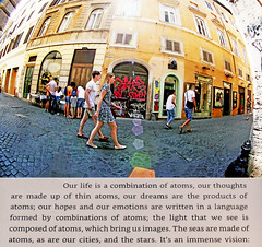 Reality is Not What it Seems. (kirstiecat) Tags: rome italy italia roma flare cinematic lensflare colors street canon people romans excerpt quite book literature nonfiction quantummechanics phsyics gravity realityisnotwhatitseems carlorovelli atoms light life fisheyelens