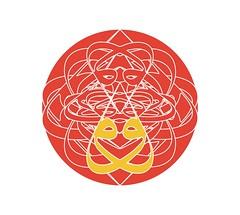 Double-vav Sri Yantra (ver_B vermillion) (them_cairo_doors) Tags: doublewaaw arabic arabicscript hindu muslim syncretism sriyantra lotusflower tilaka vermillion safron sufi sufism waw waaw
