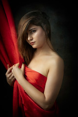 Silk Portrait (Photography by Rp) Tags: wwwrpphotographytorontocom rpphotographytoronto studio sfw alluring sensual sexy exotic beauty person brunette fashion girl red silk