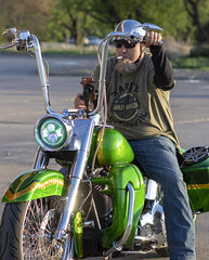 Ape Hangers (Southern Darlin') Tags: harleydavidson harley motorcycle apehangers bars ride wheels custom outlaw freedom bike motorbike man rider street streetphotography green gold chrome headlight people photography photo