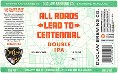 ALL ROADS LEAD TO CENTENNIAL by Tyler McCoy for Duclaw Brewing (Label_Craft) Tags: beer beers craftbeer labels craft labelcraft bottle can design illustration type fonts burp beerme brew suds brewery type:face=amboy duclaw