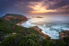 Afterglow (inkasinclair) Tags: sunset robberg nature reserve plettenberg bay sun clouds south africa landscapes seascape ocean waves water sea rocks heath plants flowers afterglow trail garden route coast coastline island beach