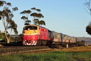 A66 leads a morning commuter service to Melbourne, shortly after departing Bacchus Marsh.