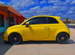 Sun City West, Arizona (oybay©) Tags: suncitywest arizona az fiat color colors colorful add tags jolly fiatjolly ghia italiancar pinkcar candystripes italian barrettjackson scottsdale pink verypink fix it again tomorrow 500 yellow yellowcar unusual weird vehicle car tire rim