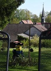 Garden work (:Linda:) Tags: germany thuringia village bürden garden mygarden gardenchair church barn shredder tool