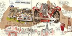Bruxelles... Autoworld avec les USK (bigoudene46) Tags: carnetdevoyage carnettiste bruxelles autoworld voitures toits usk urbansketcher dessinsurlevif bigoudene46 belgique