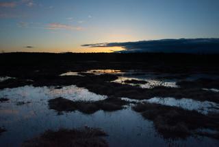 Sunset light on water (dark exposure)