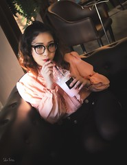 Coffee Break (imthehorntail) Tags: slcnfotos coffee shop frappe nerdy glasses asian beauty shorthaired pinay canon indoor lowlight