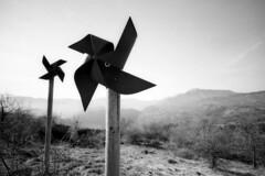 Windmills - Bismantova (Reggio Emilia) - February 2018 (cava961) Tags: windmill analogue analogico monochrome monocromo bianconero bw