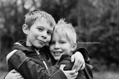 76/365 B&W (lucyrogersphotography) Tags: blackandwhite bw photochallenge 365 boy boys brothers family love brotherlove 7yearsold 8yearsold cute hug hugging nikon 50mm lucyrogersphotos