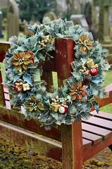 Wreath (wombat101010) Tags: wreath bench cemetary pentax k30