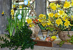 Easter displays (Blue sky and countryside) Tags: ashover church derbyshire england pentax straw decoration daffodils display attractive colourful cheerful celebration yellow eggshells easterbunny