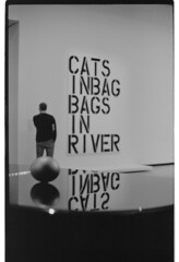 P61-2018-031 (lianefinch) Tags: argentique argentic analogique analog monochrome blackandwhite blackwhite bw noirblanc noiretblanc nb exhibition exposition museum musée moma cats inbag bags river reflets reflection paris