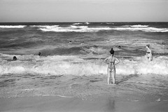 swimmers, Manly beach, Sydney summer 2018  #757 (lynnb's snaps) Tags: 35mm apx100 manly rodinal bw beach blackandwhite film people rangefinder coast seashore canonp canon50mmf18ltm agfaapx100 summer sydney australia ishootfilm manlybeach 2018