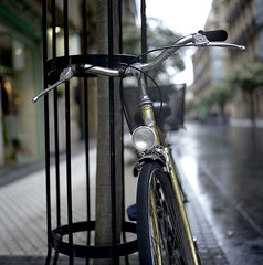 The Lamp (Gabo Barreto) Tags: sansebastina donostia paisvasco basquecountry bike bicycle lamp dof focus film 120 mediumformat 6x6 fuji fujifilm fujipro160c rain wet analoguephotography colourfilm tlr twinlensreflex yashicamat yashicamat124g filmcamera filmisnotdead