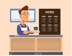 Young shop assistant serving a cup of coffee (horecakurumsal) Tags: coffee cup coffeetogo hipster espresso latte serving menu board breakfast restaurant shop hotdrink break order client service shopkeeper shopassistant owner small fast food icon vector isolated flat background template illustration concept figure store business clerk cashier counter commerce man male young customerservice storefront table commercial purchasing communication interior character department resraurants