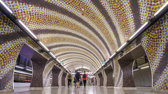Going Underground (McQuaide Photography) Tags: budapest hungary magyarország europe sony a7riii ilce7rm3 alpha mirrorless 1635mm sonyzeiss zeiss variotessar fullframe mcquaidephotography adobe photoshop lightroom tripod inside indoor interior building city capitalcity angle wideangle pov structure architecture metro underground subway station modern futuristic budapestmetro budapestimetró szentgellérttér line4 2014 tamáskomoróczky mosaic transport transportation publictransport rapidtransit